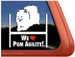 Pomeranian Agility Dog Window Decal