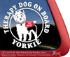 Yorkie Therapy Dog Window Decal
