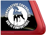 Temperature Controlled Dog is Comfortable Doberman Car Truck RV Window Decal Sticker