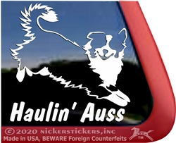Haulin' Auss Aussie Australian Shepherd Dog Car Truck RV Window Decal Sticker