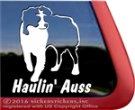 Haulin Auss Australian Shepherd Aussie Dog Car Truck RV Window Decal