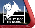Agility Dog On Board West Highland White Terrier Dog Car Window iPad Decal Sticker