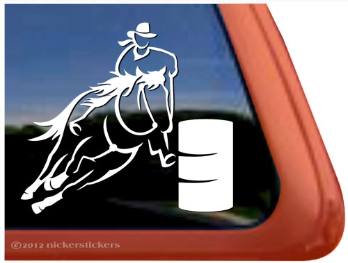 Custom barrel racing horse trailer car truck rv window decal sticker · larger photo email a friend