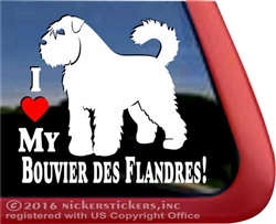 I Love My Bouvier des Flandres Dog Car Truck RV Window Decal Sticker