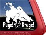 Pugs not Drugs Dog Heart Car Truck RV Window Decal Sticker