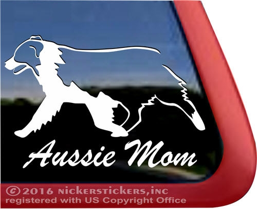 Aussie mom australian shepherd mother dog car truck rv window decal sticker larger photo email a friend