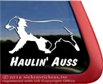 Haulin' Auss Australian Shepherd Dog Car Truck RV Window Vinyl Decal Sticker