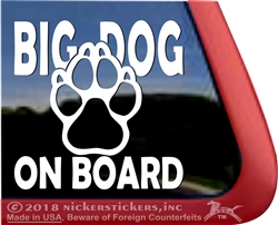 Big Dog on Board Paw Print Car Truck RV Window Decal Sticker