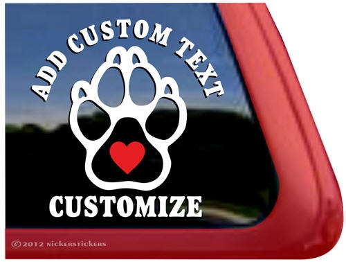 Custom paw print dog vinyl car truck rv window decal sticker · larger photo email a friend