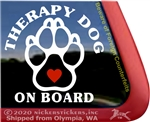 Therapy Dog Paw Print Car Truck Window Decal Sticker