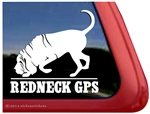Redneck GPS Bloodhound Car Truck RV Window Decal Sticker
