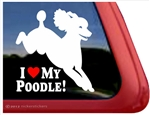 I Love My Poodle Jumping Dog iPad Car Truck Window Decal Sticker
