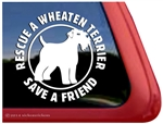 Rescue Wheaten Terrier Dog Car Truck RV Window Decal Sticker
