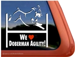 Doberman Agility Dog Window Decal