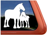 Draft Mare & Foal Horse Trailer Window Decal