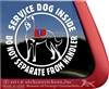 Beauceron Service Dog Inside Do Not Separate From Handler Window Decal