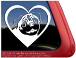 Pug Love Pug Heart Car Truck RV Window Decal Sticker