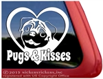 Pugs and Kisses Pug Dog Car Truck RV Window Decal Sticker