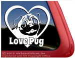 Love Pug Dog Heart Car Truck RV Window Decal Sticker
