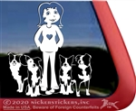 Custom Border Collie Dog Lady Car Truck RV Window Decal Sticker