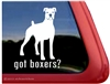 White Boxer Dog Decal Sticker Car Auto Window iPad