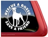 White Boxer Rescue Boxer Dog Decal Sticker Car Auto Window iPad