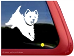 Jumping West Highland White Terrier Dog Car Window iPad Decal Sticker