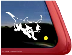 Custom Basset Hound Chasing a Ball Dog iPad Car Truck RV Window Decal Sticker