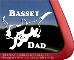 Jumping Basset Hound Dad Dog Car Truck RV Window Decal Sticker