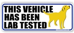 This Vehicle Has Been Lab Tested Yellow Labrador Retriever Dog Decal Bumper Sticker