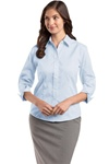 Ladies Red House - 3/4-Sleeve Dobby Non-Iron Button-Down Shirt