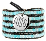Vesta Aquamarine Blue Wrap Bracelet Twilight Monogram