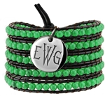 Vesta Emerald Green Wrap Bracelet Thorne Monogram