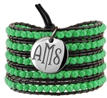 Vesta Emerald Green Wrap Bracelet Twilight Monogram
