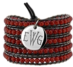 Vesta Garnet Red Wrap Bracelet Thorne Monogram