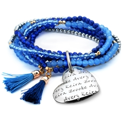 Vesta Mother's Heart Azzurro Tassel Bracelet