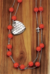 Vesta Mother's Heart Corallo Necklace