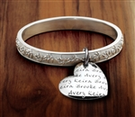 Vesta Mother's Heart Olive Branch Bangle Bracelet