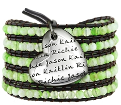 Vesta Mother's Heart Peridot Green Wrap Bracelet
