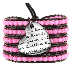 Vesta Mother's Heart Ruby Pink Wrap Bracelet