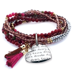 Vesta Mother's Heart Scarlotto Tassel Bracelet
