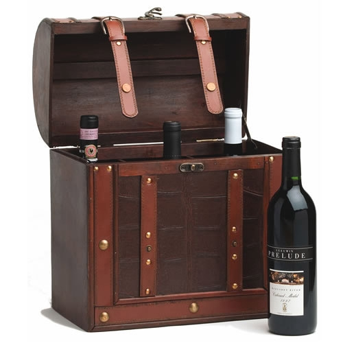 Chateau: 6 Bottle Antique Wine Box