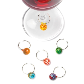 "Swirlâ""¢: Glass Wine Charms"