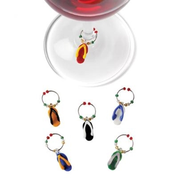 "Flip Flopâ""¢: Glass Wine Charms"