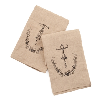 Grapevine Linen and Cotton Corkscrew Icon Towel Set