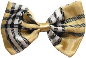 Dog Bow Tie Plaid Cream