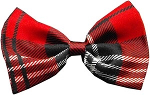 Dog Bow Tie Plaid Red