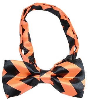Chevron Orange Bow Tie