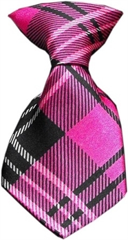 Dog Neck Tie Plaid Pink