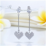Dangle Heart Solid 925 Sterling Silver Earrings Evening / Fashion Bridal Bridesmaid